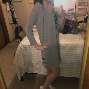 Grey Long Sleeve Loose Fitted Dress